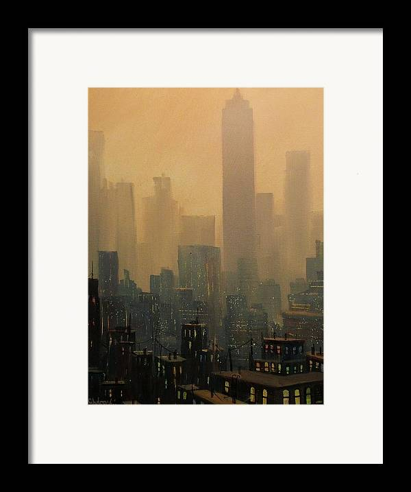 Chicago Framed Print featuring the painting City Haze by Tom Shropshire
