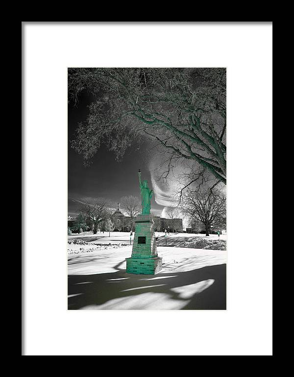 City High Framed Print featuring the photograph City High Statue by Jamieson Brown