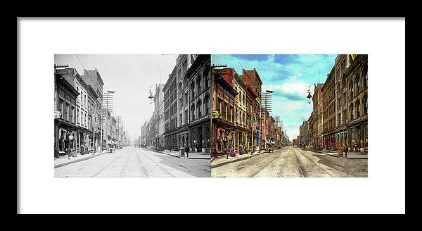 Self Framed Print featuring the photograph City - Knoxville Tn - Gay Street 1903 - Side By Side by Mike Savad