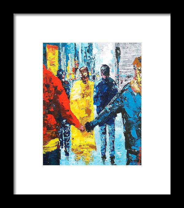 Art Framed Print featuring the painting City Life by Claude Marshall