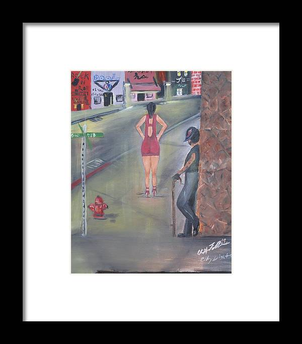 Black Abstract Art Framed Print featuring the painting City Lights by ChrisMoses Tolliver