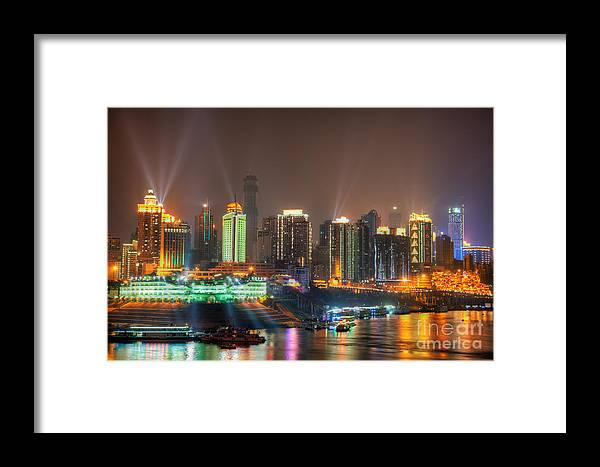 City Framed Print featuring the photograph City Lights Of Chongqing Skyline by Fototrav Print