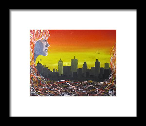 Girl Framed Print featuring the painting City by Michael Holmes