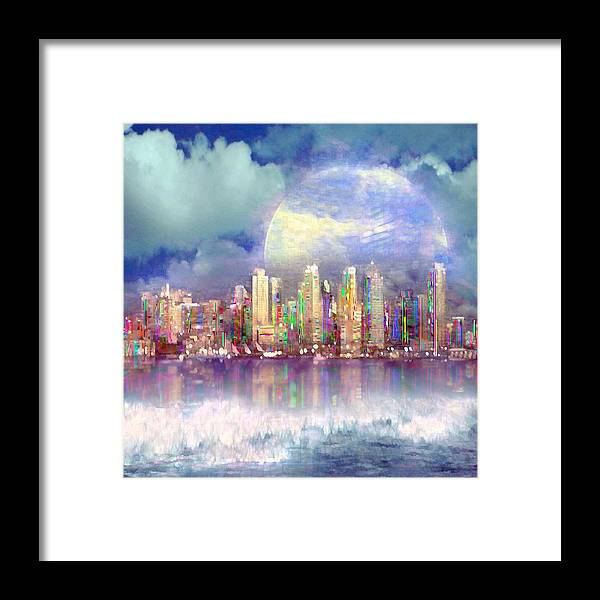 Cityscape Framed Print featuring the digital art City Moon by Ted Packman