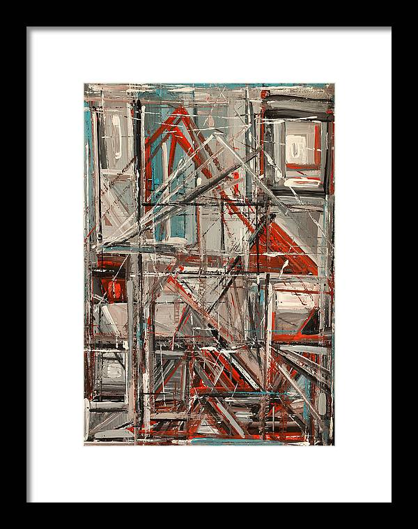 Abstract Framed Print featuring the painting City by Natia Tsiklauri