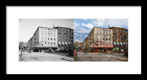 Self Framed Print featuring the photograph City - New York Ny - Fraunce's Tavern 1890 - Side By Side by Mike Savad