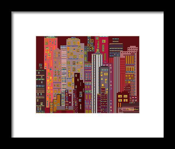 Red Framed Print featuring the digital art City Of Night by Helene Champaloux-Saraswati