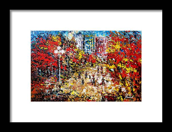 Abstract Framed Print featuring the painting City Park by Claude Marshall