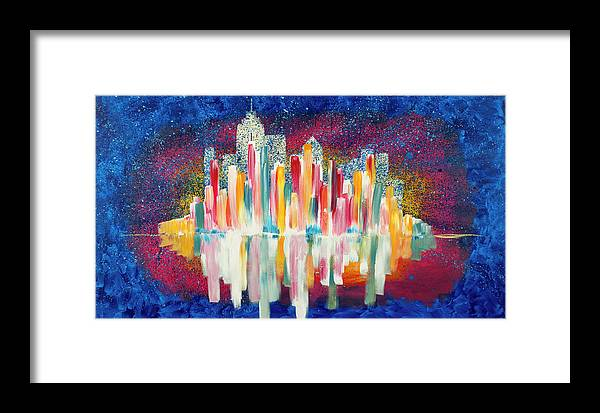 City Framed Print featuring the painting City Skyline by Chelsie Ring
