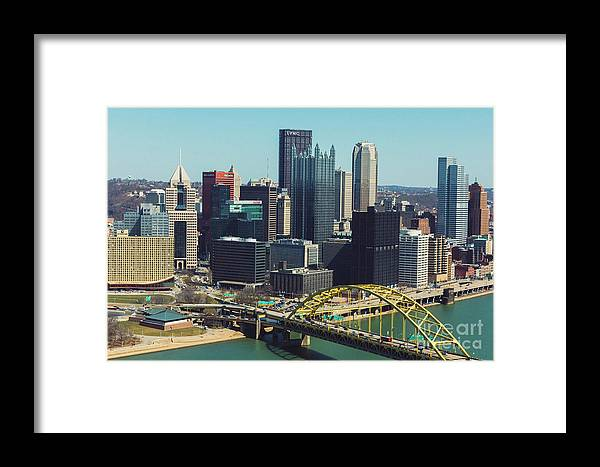 Cityscape Framed Print featuring the photograph City Skyline-pittsburg by Maxwell Dziku