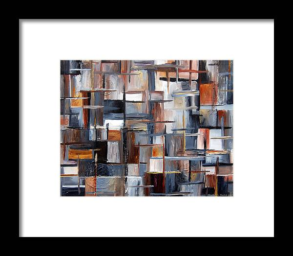 Abstract Framed Print featuring the painting City Vibes by Heather S Huston