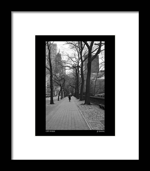 Black Framed Print featuring the photograph City Walk by J Todd