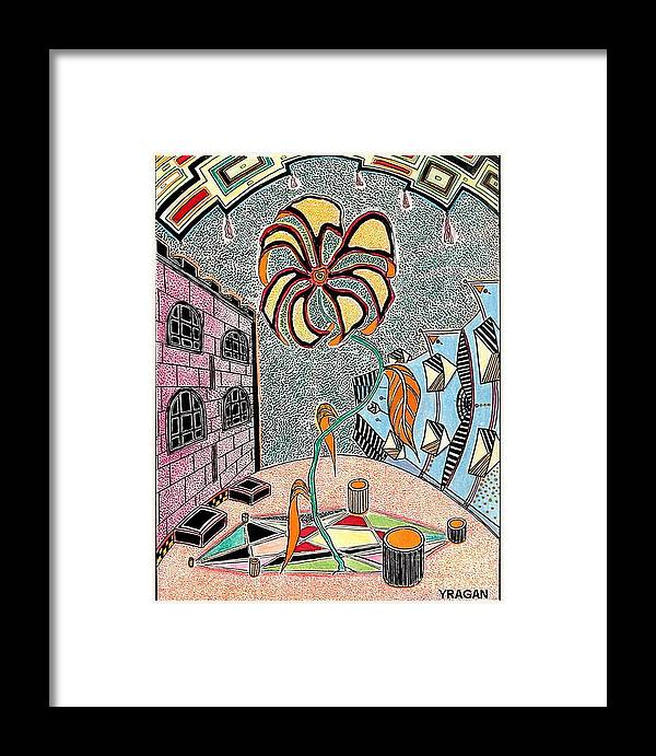City The Drawing Swept A Pastel Ink Framed Print featuring the painting Cityflower by Yury Bashkin