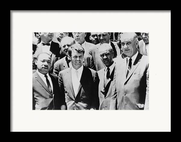 History Framed Print featuring the photograph Civil Rights Leaders L To R Martin by Everett