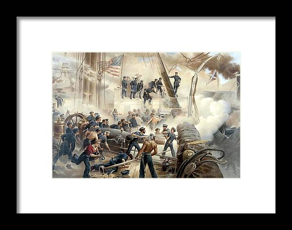 Civil War Framed Print featuring the painting Civil War Naval Battle by War Is Hell Store