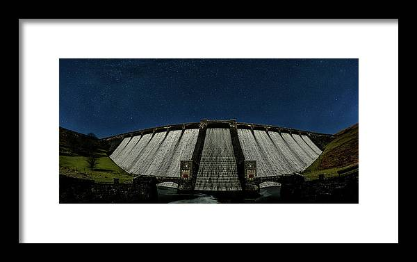 Claerwen Reservoir Framed Print featuring the photograph Claerwen Reservoir In Moonlight by Nigel Forster