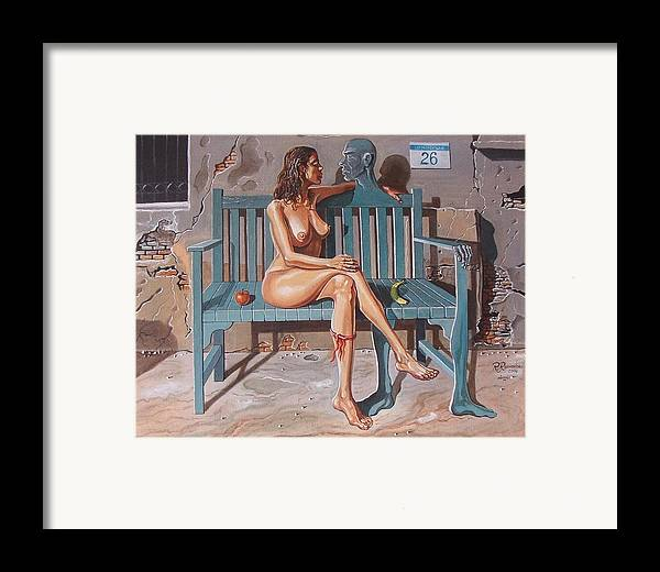 Surreal Framed Print featuring the painting Clandestine Libido by Ramaz Razmadze