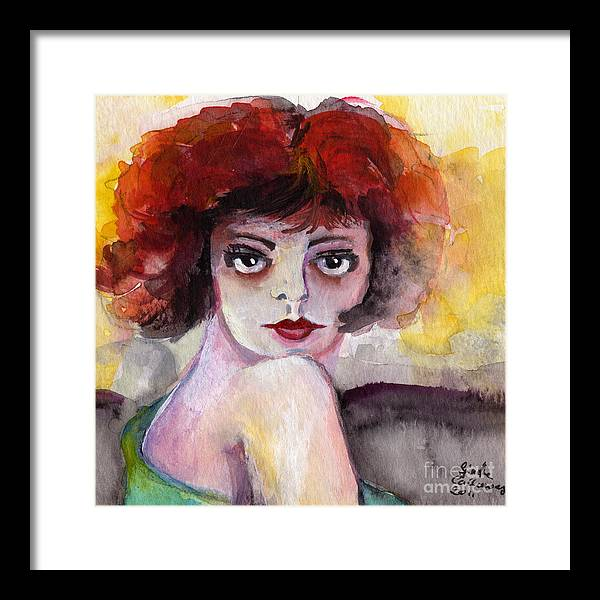 Clara Bow Framed Print featuring the painting Clara Bow Vintage Movie Stars The It Girl Flappers by Ginette Callaway