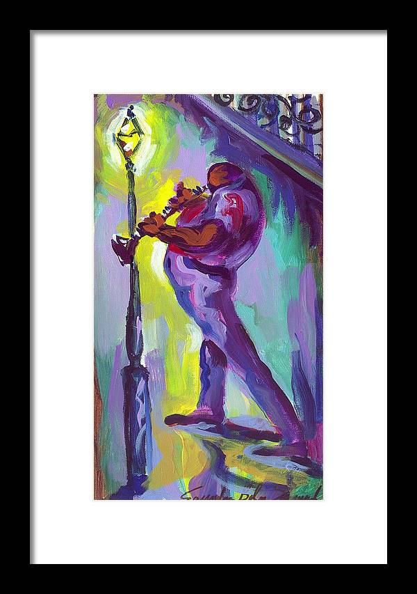 Clarenet Framed Print featuring the painting Clarenet And Lamp Post by Saundra Bolen Samuel