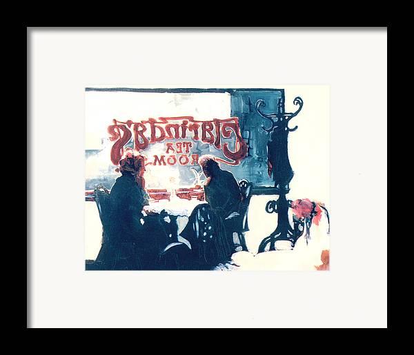 Tea Framed Print featuring the painting Clarinda's Tea Room by Linda Crockett
