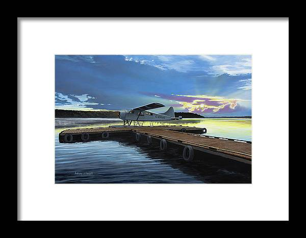 Plane Framed Print featuring the painting Clark's Air Service by Anthony J Padgett