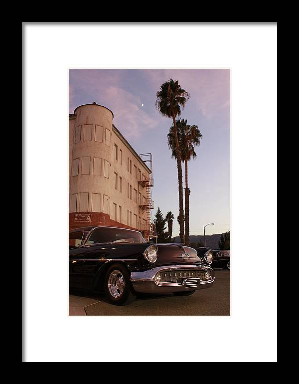 Car Chrysler Wheels Hotel Lake-elsinore Car-show Street Palm Tree Sun-set Framed Print featuring the photograph Classic At Sunset by Lawrence Costales