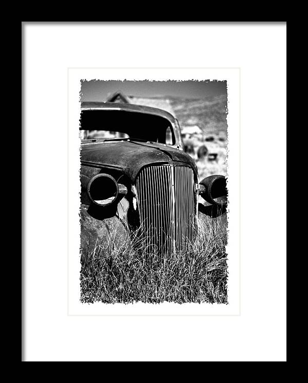 Barren Framed Print featuring the photograph Classic Car Body In Grassy Field by George Oze