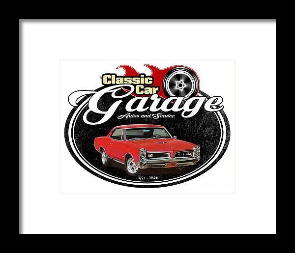 1966 Framed Print featuring the digital art Classic Car Garage With Gto by Paul Kuras