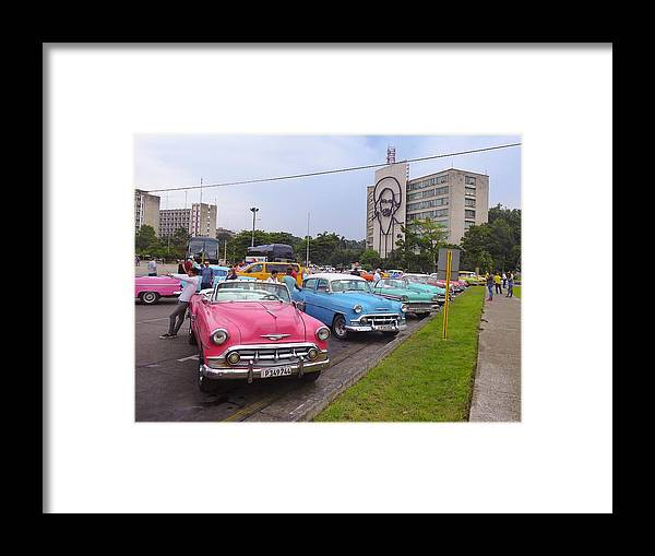 Classic Framed Print featuring the photograph Classic Cars In Revolutionary Square Cuba by Marge Sudol