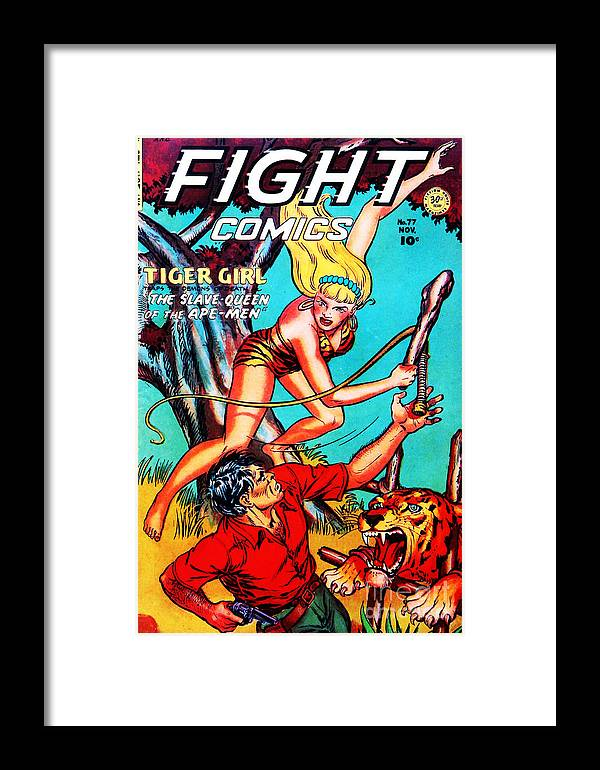 Classic Comic Book Cover Fight Comics Tiger Girl 77 Framed Print