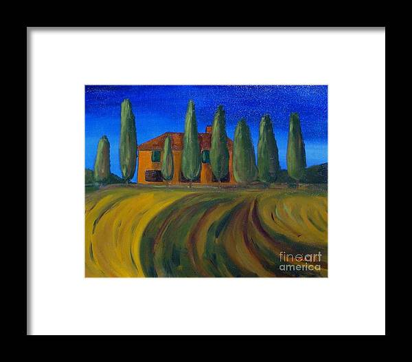 Tuscany Framed Print featuring the painting Classic Tuscan Sunset by Laurie Morgan