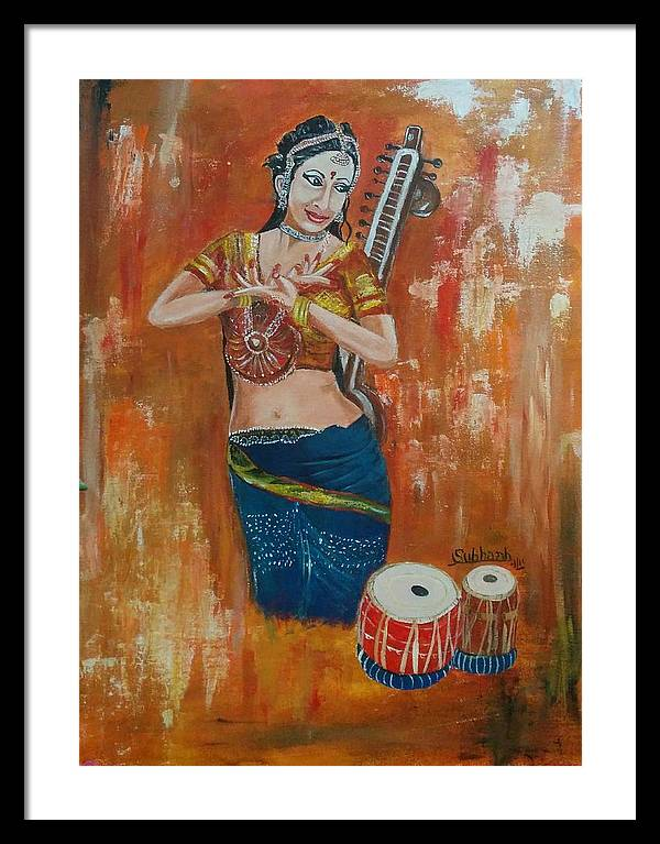 Classical Dance Framed Print featuring the painting Classical Dance by Subhash Gijare