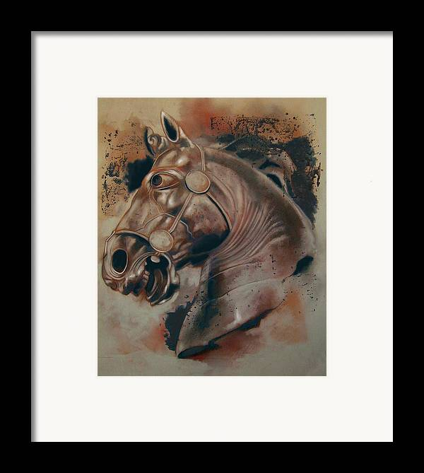 Drawing Framed Print featuring the digital art Classical Horse 5 by Tom Durham