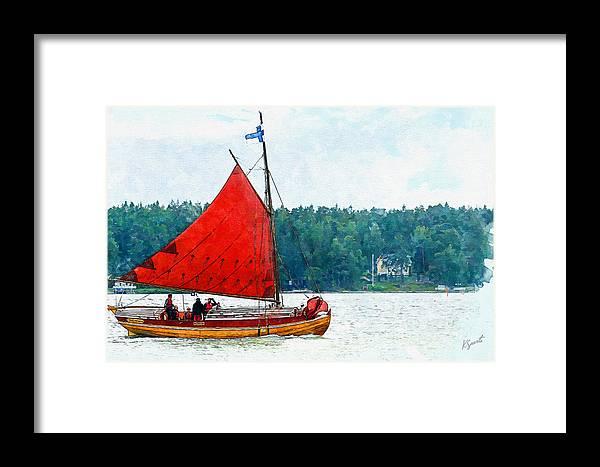 Saaristolaisvene Framed Print featuring the digital art Classical Wooden Boat Tacksamheten by Kai Saarto