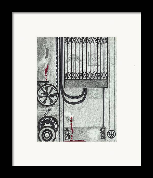 Elevator Framed Print featuring the drawing Claude Harvey's Death. by Ingrid Szabo
