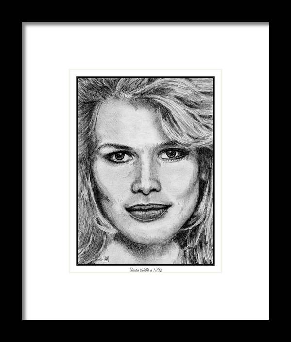 Claudia Schiffer Framed Print featuring the drawing Claudia Schiffer In 1992 by J McCombie