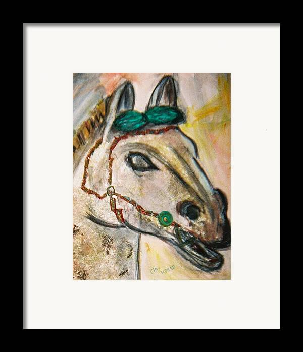 Horse Framed Print featuring the painting Clay Horse by JuneFelicia Bennett