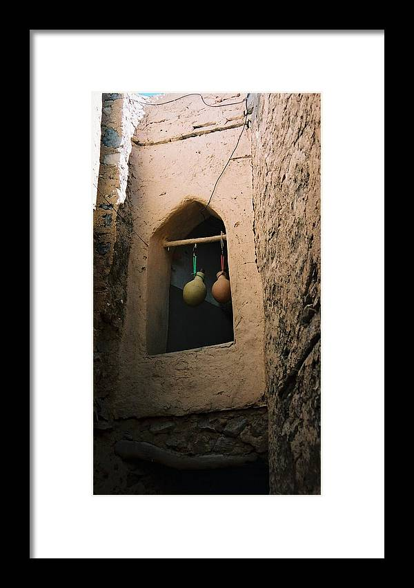 Clay Framed Print featuring the photograph Clay Water Bottles In Oman by Gosta Eger
