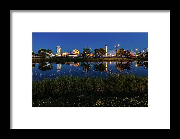 Cle Lights Framed Print featuring the photograph Cle Reflection by Linda Ryma