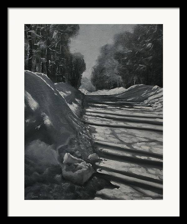 Oil Painting Framed Print featuring the painting Clear Sunny And Cold by Michael Vires