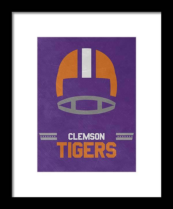 Tigers Framed Print featuring the mixed media Clemson Tigers Vintage Football Art by Joe Hamilton