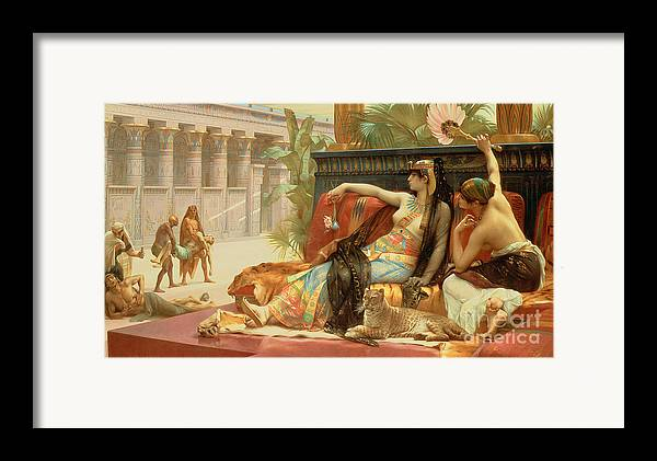 Egypt Framed Print featuring the painting Cleopatra Testing Poisons On Those Condemned To Death by Alexandre Cabanel