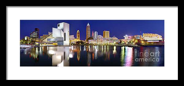 Cleveland Skyline Framed Print featuring the photograph Cleveland Skyline At Dusk by Jon Holiday