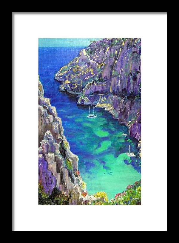 Seascape Framed Print featuring the painting Cliff by Aymeric NOA