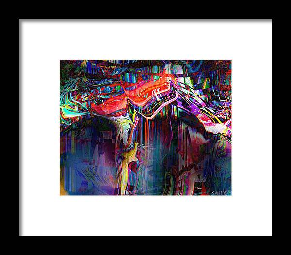 Abstract Framed Print featuring the digital art Cliff by Dave Kwinter