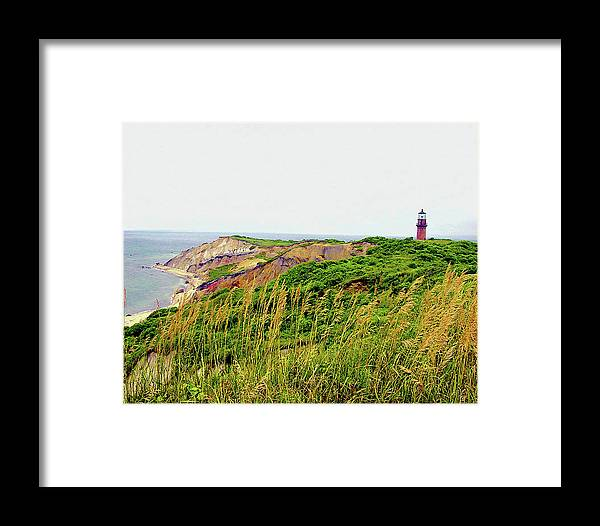 Digital Framed Print featuring the photograph Cliff Off The Shores Of Martha Vineyard by Charles Willis