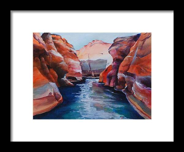 Seacape Framed Print featuring the painting Cliff Tapestries by Donna Pierce-Clark