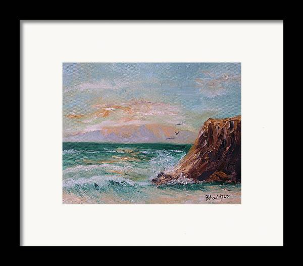 Waves Framed Print featuring the painting Cliffs And Waves by Barbara Harper