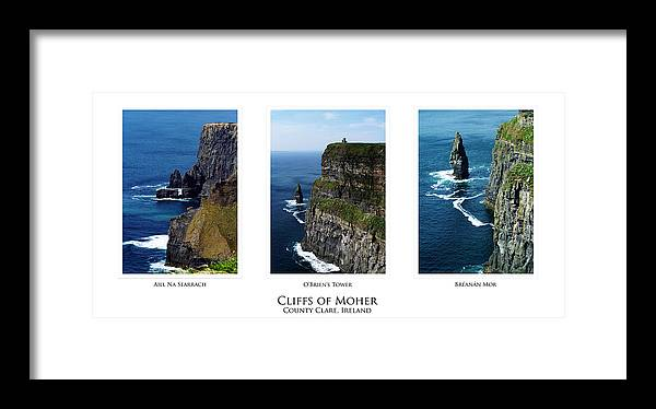 Irish Framed Print featuring the photograph Cliffs Of Moher Ireland Triptych by Teresa Mucha