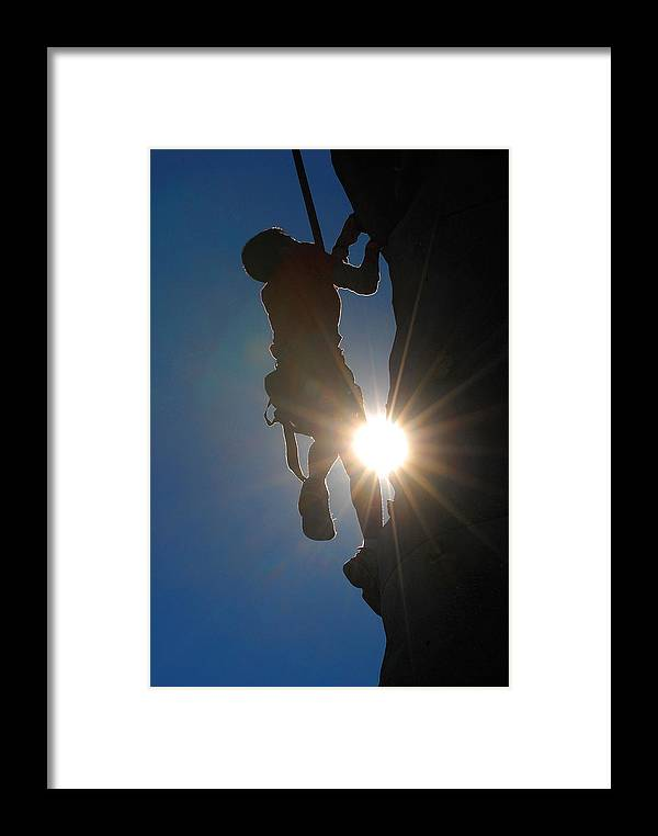 Climbing Framed Print featuring the photograph Climber Silhouette by Steve Somerville